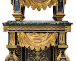 A Louis XIV style gilt bronze mounted brass and tortoiseshell inlaid Boulle pedestal clock<BR />G & N Passerat<BR />second half 19th century