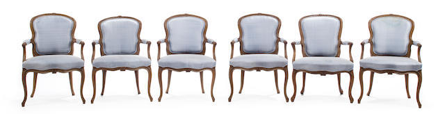 A set of six Louis XV style carved beechwood fauteuils en cabriolet<BR />mid-late 19th century