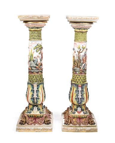 A pair of Capodimonte porcelain pedestals<BR />