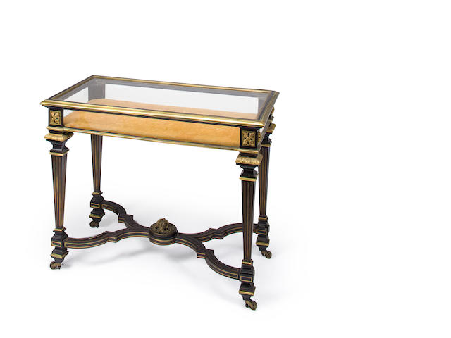 A Louis XIV style gilt bronze mounted and brass inlaid ebonized rosewood vitrine table<BR />late 19th/early 20th century