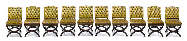 A set of ten fruitwood X-form dining chairs<BR />20th century