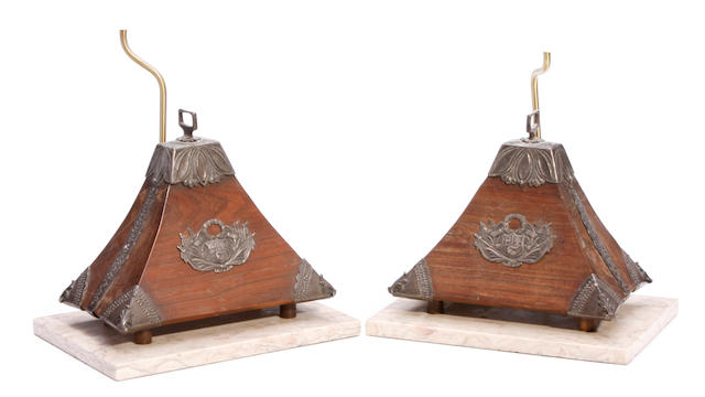 A pair of Peruvian silvered metal mounted hardwood table lamps