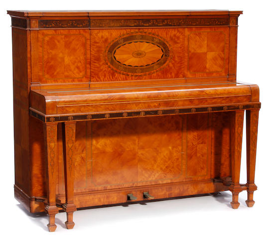 A John Broadwood & Sons cottage upright piano in Sheraton Revival marquetry inlaid satinwood case