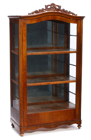 A Continental mahogany display cabinet