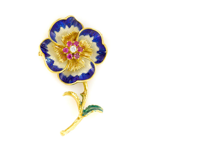 A ruby, diamond, enamel and 18k gold pansy brooch (loss to enamel)