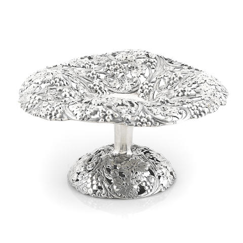 A Victorian cast sterling silver vintage-decorated compote Sheffield, 1896