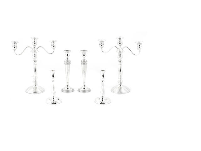 A group of American sterling silver weighted lighting (3 pairs), 6 pcs