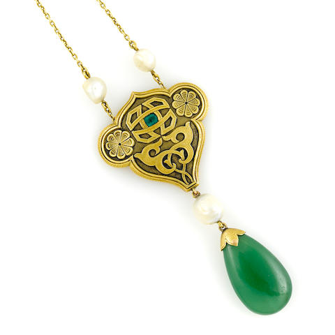 A cultured pearl, 14k gold and jade pendant necklace **Estimate to be re evaluated if it comes back not as untreated type A jade**