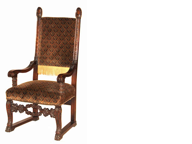 A pair of Italian Baroque style walnut armchairs early 20th century