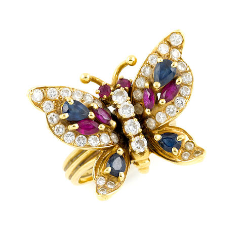 A diamond, gem-set and gold butterfly ring