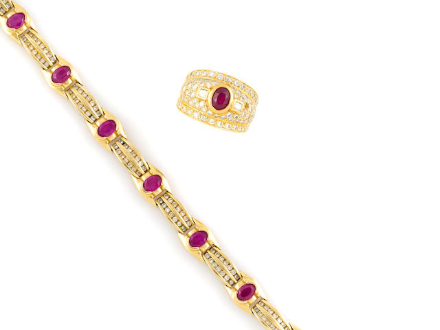 A ruby, diamond and 14k gold bracelet and ring
