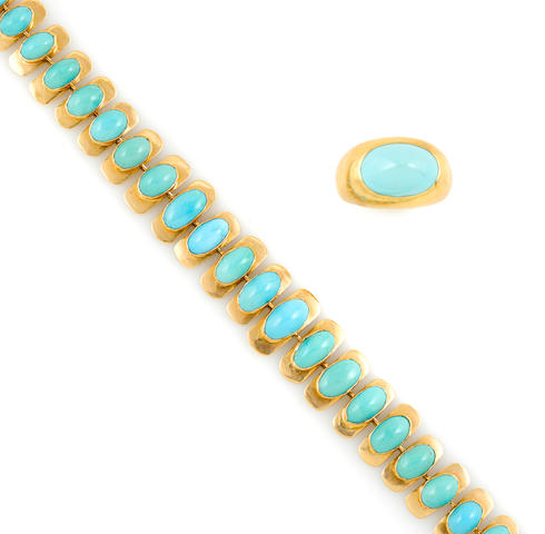 A turquoise and gold bracelet and ring (one stone unmounted)