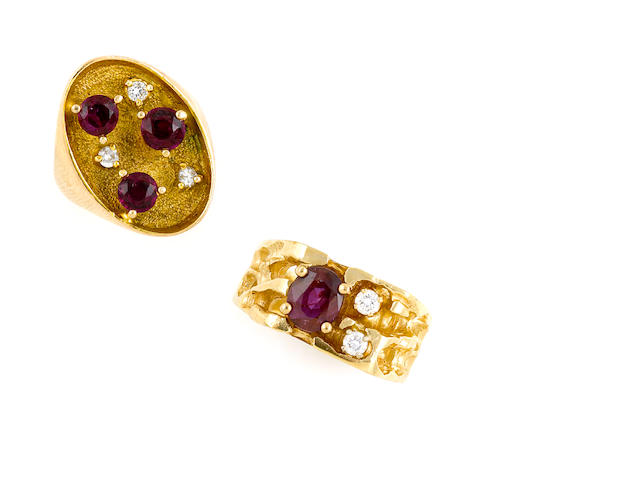 A group of two ruby, diamond and gold rings
