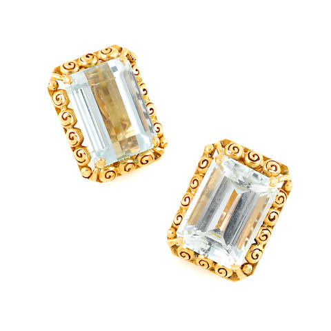 A pair of aquamarine and 14k gold earclips