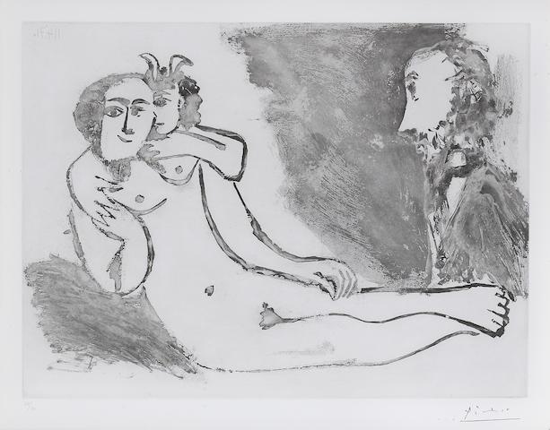 Pablo Picasso (1881-1973); Degas fantasmant. Faune chuchotant à l'oreille d'une femme, pl. 114, from Series 156;