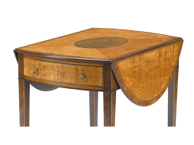 A fine George III satinwood and yewwood inlaid  Pembroke table   late 18th century