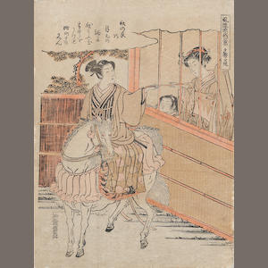 Isoda Koryusai (fl. 1764-1788). Four woodblock prints
