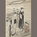 Chobunsai Eishi (1756-1829)<BR />Two woodblock prints