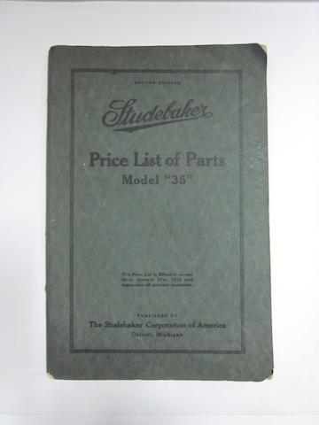 "A Studebaker price list of parts model ""38,"""