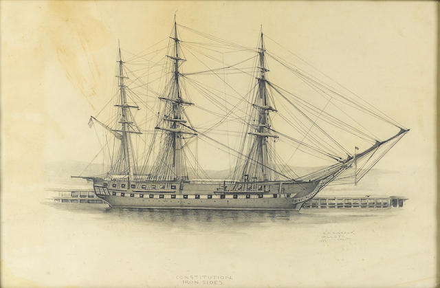 Elbridge Ayer Burbank (American, 1858-1949) The ship 'Ironsides' drawing
