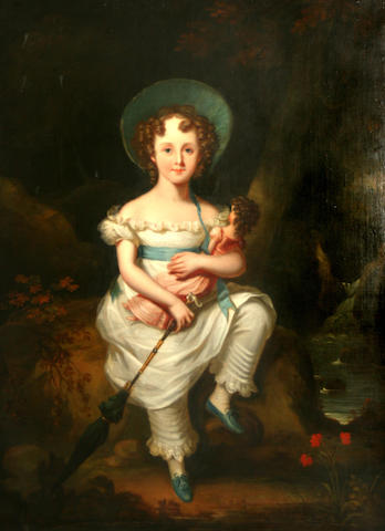 English School, 19th Century A portrait of a young girl, full-length, with her doll in a wooded landscape 50 x 40in
