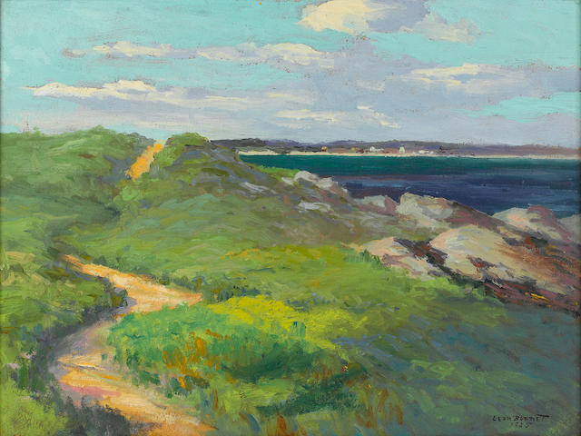 Leon Durand Bonnet (American, 1868-1936) Green bluffs along coast; Elbow Beach, Bermuda, 1924; Rocky coast (Three) first 12 x 16in; second 12 x 16in; third 16 x 12in