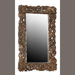 An Asian style parcel giltwood mirror 20th century