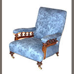 A Victorian walnut armchair  third quarter 19th century
