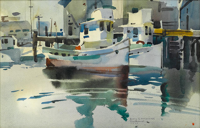 Rex Brandt (American, 1914-2000) Boats & Reflections 12 x 19in