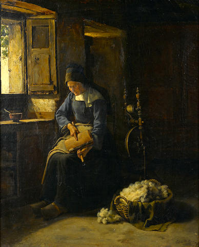 Edgar Melville Ward (American, 1839-1915) Carding Wool 24 x 19 3/4in