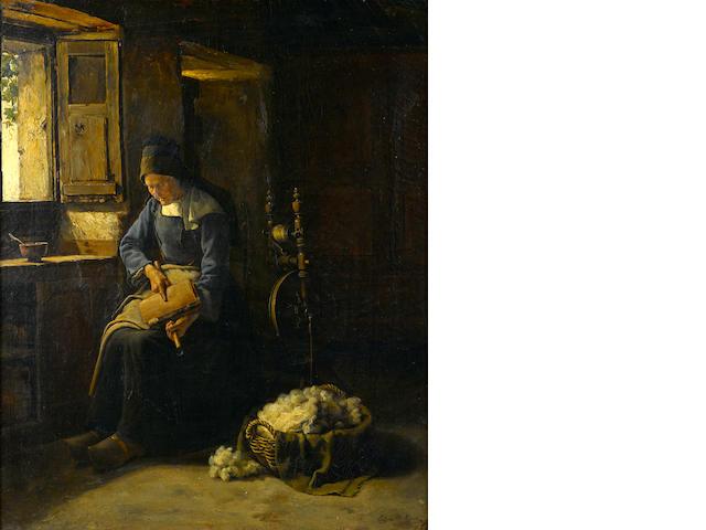Edgar Melville Ward (American, 1839-1915) Carding wool