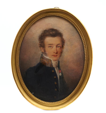A portrait miniature of a gentleman in military tunic