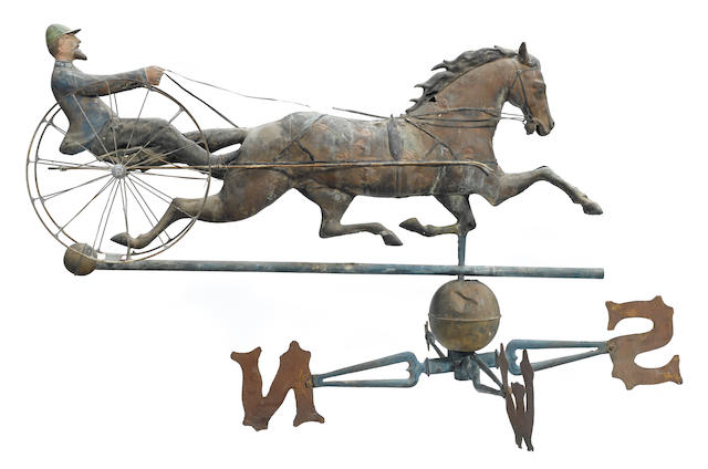 A patinated copper and zinc paint decorated Horse and Jockey weathervane
