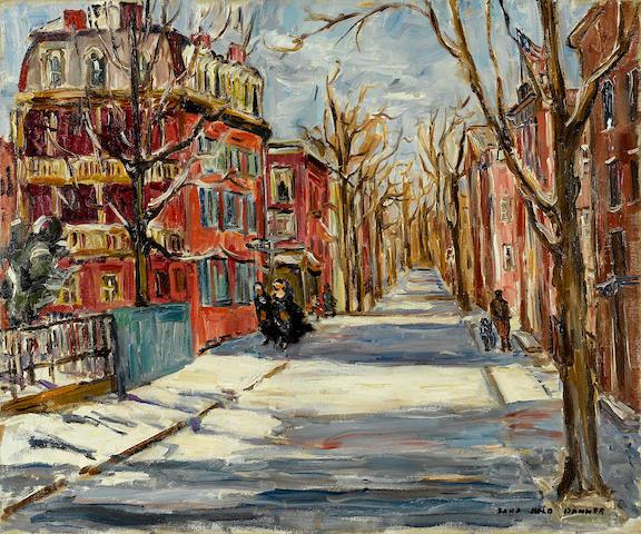 Sara Kolb Danner (American, 1894-1969) Snowy Street 20 1/8 x 24 1/8in unframed