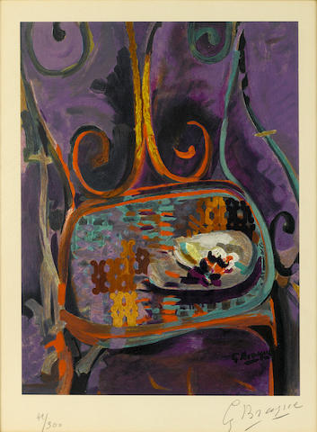 Georges Braque (French, 1882-1963), Still life with chair (M.1046), signed in pencil 'Georges Braque' (lower right) and numbered '42/300' (lower left), color lithograph, 14 1/2 x 11in