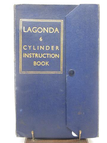 A Lagonda six cylinder instruction book,