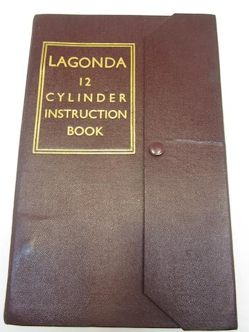 A Lagonda 12 cylinder instruction book