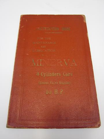 A Minerva eight cylinder 40 hp instruction book,
