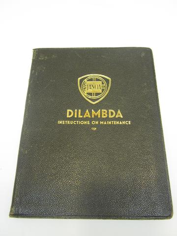 A Lancia Dilambda instructions on maintenance book,