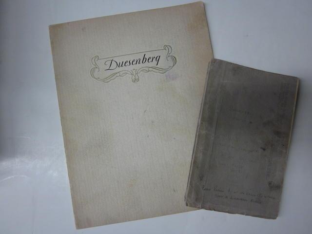 A Duesenberg sales brochure, c. 1929-1930,