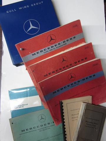 A good lot of the Mercedes Benz type 300 SL roadster manuals parts lists together with the Gull Wing group technical tips,