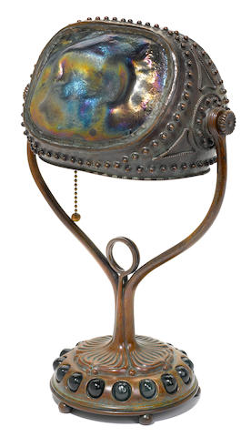 A Tiffany Studios Turtleback Tile and Bronze Desk Lamp