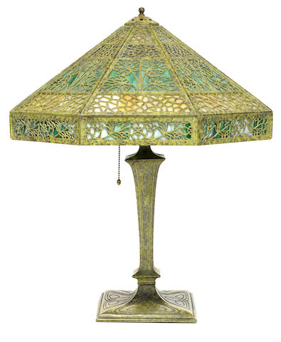 A Bradley & Hubbard filigree metal and glass table lamp, Early 20th Century