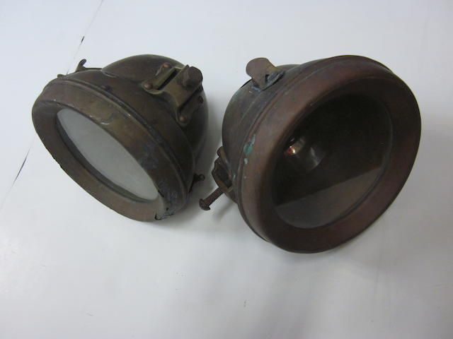 A set of Rotax brass lamps,