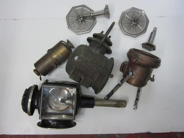 A mixed lot of early brass era lamps and others,