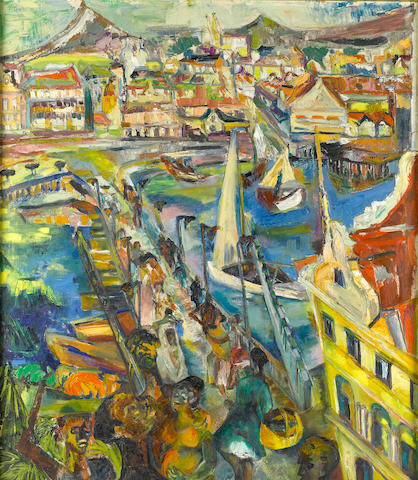 Suzanne Perlman (Dutch, 1923-1993) Harbor Scene 35 3/4 x 31 1/2in.