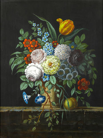M. Gano A floral still life; together with another still life attributed to the same hand  (a pair) each 24 x 18in