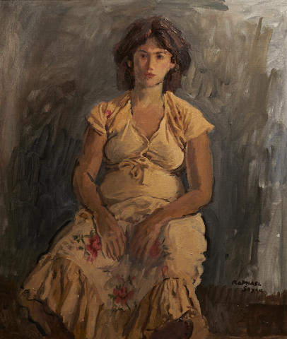 Raphael Soyer (American, 1881-1961) A seated woman 24 x 20in