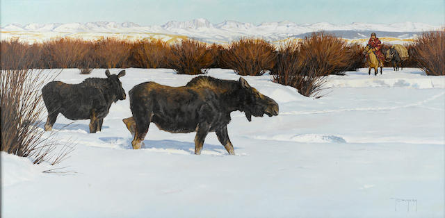 "Robert Duncan, The Intruder, oil, 16"" x 31"""