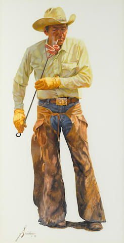 Gordon Snidow (American, born 1936) Cowboy sight 25 3/4 13 1/4in